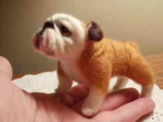 Handmade, needle felted bulldog. Amazing!!