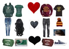 """""""Slytherin ❤️ Gryffindor"""" by justoneme ❤ liked on Polyvore featuring Hanes, Converse and Dsquared2"""