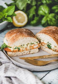 Breakfast with fish sandwich filled
