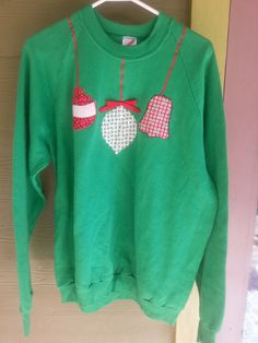 7b74cf6f3fd Items similar to Vintage 80s Green Tacky Ugly Christmas Xmas Sweatshirt  Sweater Ornaments Size XL on Etsy
