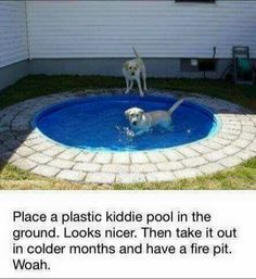 Place a plastic kiddie pool in the ground, then take it out and have a fire pit! - awesome idea!