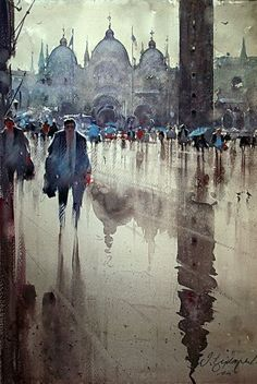 Dusan Djukaric Rainy day in St. Mark's Square Venice, watercolor, 38x56 cm