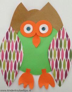 Een uiltje knutselen van papier. http://kinderknutseltips.nl/uiltje-knutselen-papier-knutseltip-4-jaar/. Knutselen met kinderen. Knutselidee