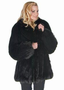 b30ee9d253e Genuine Real Fox Fur Jacket for Women Plus Size Black - Shawl Collar 29