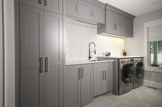 Utility Cabinets, Laundry Room Cabinets, Grey Cabinets, Kitchen Cabinets, Grey Laundry Rooms, Home Reno, Mudroom, Home Kitchens, Sweet Home