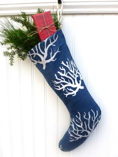 Blue Coral Nautical Christmas Stocking