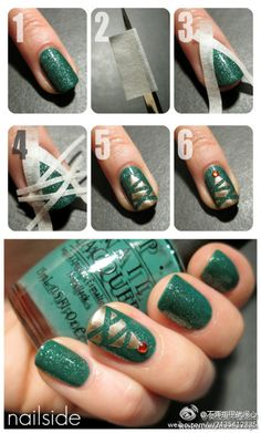 Simple Christmas Tree nails...make sure the base color is completely clean before you put the tape
