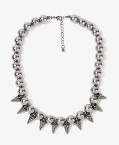 Rhinestoned Spikes Pearlescent Necklace | FOREVER21 - 1030187271  https://allmouthandtrousers.wordpress.com/