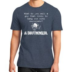 A drummer District T-Shirt (on man)