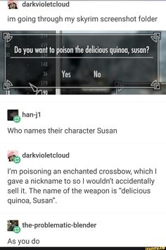 """who names their character Susan"" *the phandom laughs in the distance*"