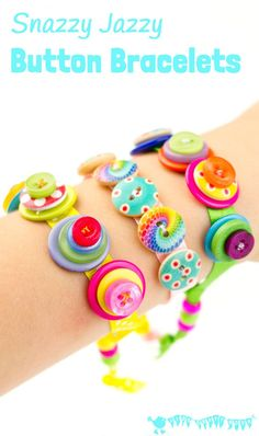 Sewing For Kids SNAZZY JAZZY BUTTON BRACELETS are a great sewing project for kids and for fun loving grown ups! Homemade button bracelets make great gifts too. Button Crafts For Kids, Sewing Projects For Kids, Easy Crafts For Kids, Sewing For Kids, Diy For Kids, Gifts For Kids, Sewing Crafts, Craft Projects, Sewing Tips