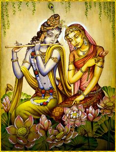 """Krishna! Play that tune again!"" Radha demanded ""As you wish my darling,"" She sighed contentedly, I do so love it when you play for me Krishna. ""I know my darling,"" he replied and played another of her favourite songs. Artist: Vrindavan Das source of picture: http://www.vrindavanart.com Jai Shree Krishna!"