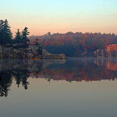 Solitude - George Lake Killarney Provincial Park Ontario Canada #art #photography #canoeist #fall #autumn #killarney