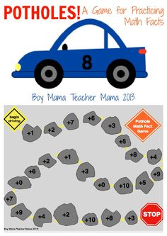 Boy Mama Teacher Mama | Potholes! A Math Facts Practice Game