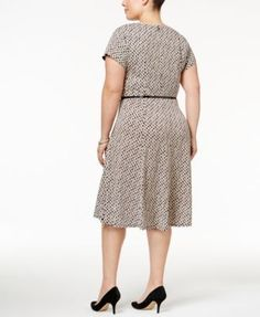 Jessica Howard Plus Size Printed Fit & Flare Dress - Navy/blue 22W