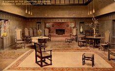 Vintage postcard of the F & N furniture gallery...