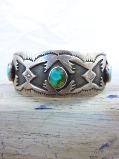 Vintage Sterling Silver Overlay Thunderbird Cuff Bracelet with 3 Lovely Royston Turquoise Stones by Renowned Navajo Artist, Monroe Ashley.