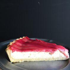Mmm. Rhubarb, Goat Cheese & Thyme Tart made with Greek Yogurt.