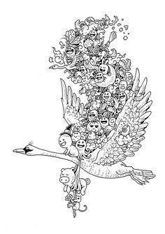 Doodle art 442197257134096772 - Doodle Invasion Coloring Book by Kerby Rosanes, via Behance Source by krishamaea Doodle Coloring, Colouring Pics, Coloring Book Pages, Printable Coloring Pages, Doodle Art Drawing, Art Drawings, Les Doodle, Doodle Pages, Doodles