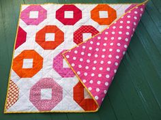 Pink & orange polkadots baby quilt for girl/ by quiltstudio444