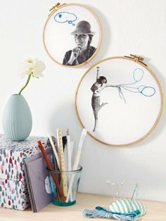 Make a photo wall yourself – creative ideas - selber machen dekoration Diy Embroidery, Embroidery Patterns, Contemporary Embroidery, Embroidery For Beginners, Kids Decor, Quirky Gifts, Diy Projects To Try, Nature Crafts, Diy Crafts