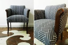Our client's armchair reupholstered in Ryan Parker's Herringbone textile.