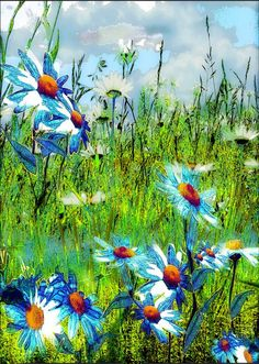 "Artist: Anne Weirich; Mixed Media, Painting ""Blue Marguerites"""