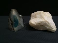 LOT INCLUDES A TEAL AND CRYSTAL GEODE WITH POLISHED FRONT, MEASURING 6.25 INCHES HIGH AND A 6X8 INCH NATURAL ROUGH CUT ROCK (QUARTZ?)