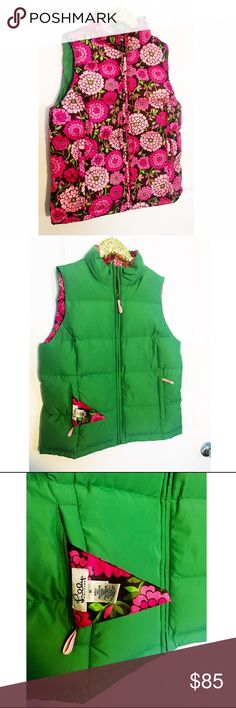 Lilly Pulitzer vintage reversible vest Beautiful Lilly vest. Reversible green and flowered puffy vest. No flaws Lilly Pulitzer Jackets & Coats Vests