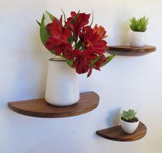 Set of 2 half round walnut shelves by offcutstudio on Etsy