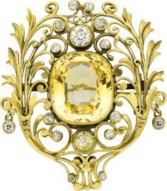 Citrine and diamond antique brooch