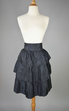 The Change of Heart - 80s Black Ruffles Cocktail, Prom, Party Skirt Women's Size Small Vintage Retro by RIPandROSE on Etsy