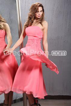 Amazing Ruched A-Line Strapless Tea-length Hot Sell Veronika's Bridesmaid Dresses
