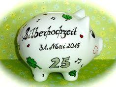 Sparschwein XL  Nr. 88 Silberhochzeit von *M&M Bastelparadies* auf DaWanda.com