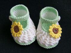 Encargo de ganchillo a mano puro - de punto lindo suave zapatos de algodón botas de girasol