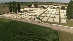 Tyne Cot cemetery from above,  Flanders / Belgium / Aerial | HD Stock Video 441-305-856 | Framepool Stock Footage