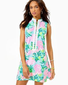 Shift romper with lace and zipper detail at center From top of shoulder to hem (based on a size Inseam.Built-in lingerie snaps make this romper bra-friendly.Stretch Satin Back Crepe Polyester, Spandex). Pineapple Shake, Stretch Dress, Stretch Satin, Rompers Women, High Collar, Beautiful Outfits, Beautiful Clothes, Lilly Pulitzer, Dresses With Sleeves