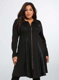 """<p>A dressed-up coat for your inner drama queen (i.e. it makes an entrance). A sweeping length paired with textured faux leather panels makes this black fit and flare waistcoat a head-turner. A lace up corset back drums up some drama (the good kind).</p>  <p></p>  <p><b>Model is 5'10"""", size 1</b></p>  <ul> <li>Size 1 measures 44 1/2"""" from shoulder</li> <li>Polyester/rayon/spandex</li> <li>Wash cold, line dry</li> <li>Imported plus size coat</li> </ul>"""