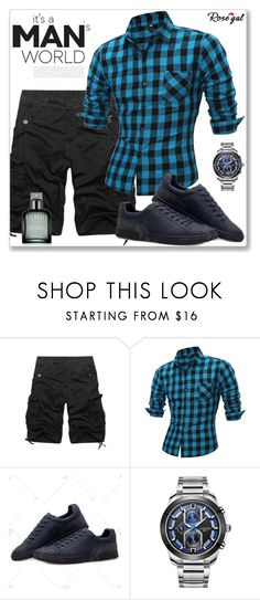 """""""Casual Men"""" by jecakns ❤ liked on Polyvore featuring Calvin Klein, men's fashion, menswear, shorts, plaid, rosegal and cargoshort"""