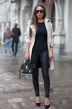/ trench and leather