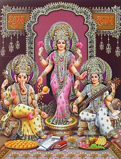 Lakshmi, Saraswati and Ganesha (via Dolls of India) Krishna, Shiva, Indian Goddess, Goddess Art, Diwali Pooja, Saraswati Goddess, Lakshmi Images, Lord Vishnu Wallpapers, Spirituality