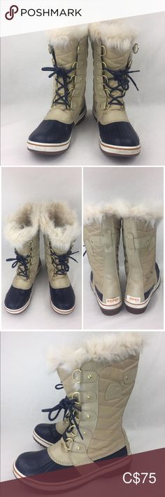 """SOREL Joan of Arctic' Waterproof Snow sz 8 prelove slight discolouration  one of the pull tab not  intact run larger   A warm, waterproof boot is designed with cozy faux fur trim and features a lace-up panel that adjusts for a perfect fit. Comfort rated to -25 degrees Farenheit, it's built to keep your feet feeling warm and toasty when temperatures take a nose dive.  1 1/2"""" heel; 1/2"""" platform (approx). 12"""" boot shaft; 17"""" calf circumference. Comfort rated to -25 degrees Fahrenheit. 159… Sorel Joan Of Arctic, Waterproof Boots, Fur Trim, Rain Boots, Perfect Fit, Calves, Larger, Faux Fur, Take That"""