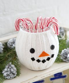 Cute snowman jar to hold all the wonderful candy canes for the holiday season!!