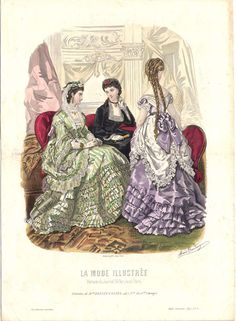 Fashion plate, 1870 France, La Mode Illustree