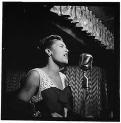 """""""If I'm going to sing like someone else, then I don't need to sing at all."""" — Billie Holiday • Photographed by William P. Gottlieb • New York, New York • February 1947    love her ;)"""