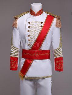 Royal Retro Costume Men's White European Vintage Prince Charming Costume Outfit Halloween Costume Prince, Prince Charming Costume, King Costume, Costume Blanc, Princes Dress, Prince Charmant, King Outfit, Royal Clothing, Retro Costume