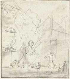Simon Andreas Krausz | Zittende boerenvrouw met kind en kippen voor het huis, Simon Andreas Krausz, 1770 - 1825 |