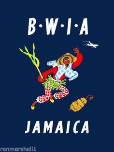 Jamaica Jamaican Caribbean Island Sea Vintage Travel Art Poster Advertisement