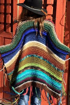 "Thigh Length Knitted Womens Bohemian Festival Hippie Beach Poncho Cape Shawl (""For CUstom ORder"") Poncho Shawl, Knitted Poncho, Knitted Shawls, Crochet Shawl, Crochet Yarn, Cape Scarf, Ibiza Fashion, Mode Boho, Crochet Clothes"