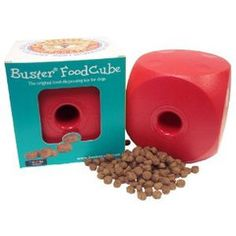 Buster Food Cube. A great way to give your dog his/her meals. Make your dog work for their food! And they'll enjoy having to hone in on their instincts and forage for food like their ancestor's past. You can also control how easily the kibble falls out with a simple twist. www.ActiveDogToys.com
